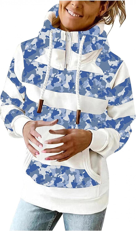 Toeava Fashion Hoodies for Women, Women Turtleneck Pockets Blouse Long Sleeve Hoodies Drawstring Pullover Sweatshirts