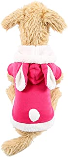 QDOUPET Soft Winter Pet Clothes Pink Cute Rabbit Style Hoodie Coat for Dog