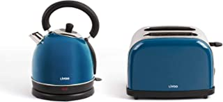 Bouilloire sans fil et grille-pain Bleu Set petit-déjeuner en acier inoxydable (arrêt automatique, élément chauffant caché...