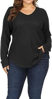 Allegrace Women Plus Size Lightweight Knit Pullover Sweaters Long Sleeve Sweater Shirts