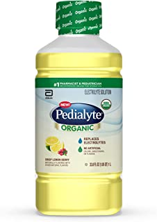 Pedialyte Organic Electrolyte Drink, Advanced Hydration for Kids & Adults, with Zinc Immune Support, Crisp, 1 Liter, Lemon...