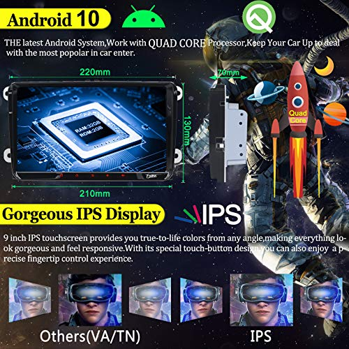 9inch Android 9.0 Double unité principale 2Din pour Polo de voiture VW Golf stéréo Jetta Passat Dans Dash Autoradio Récepteur FM AM RDS Canbus Core GPS Navigation Radio Caméra de recul stéréo