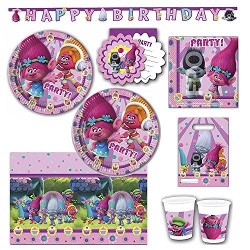 Trolls Partygeschirr Party Set Servietten Becher Teller Einladungskarten Partytüten Partykette Kindergeburtstag
