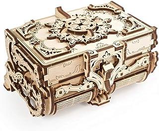 UGEARS Puzzle 3D Mécanique en Bois - Boîte Antique à Bijoux en Bois - Casse Tete Puzzle en Bois 3D - Jeu de Construction -...