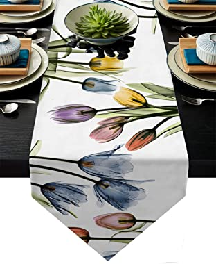 Tulip Floral Linen Table Runner 71 Inches Long Dresser Scarves Tablerunner for Farmhouse Kitchen Dinner,Holiday Parties Decor