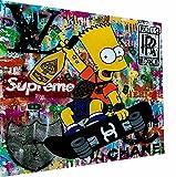 Magic Canvas Art - Imagen de Bart Simpson Pop Art Lienzo de 1 pieza, impresión artística de alta calidad, moderno mural, diseño de pared, tamaño: 120 x 90 cm