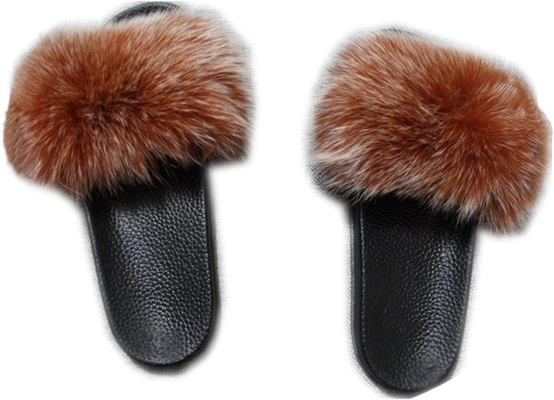 QMFUR Women Real Fox Fur Open Toe Single Strap Slip On Sandals Black Sole (10, orange)