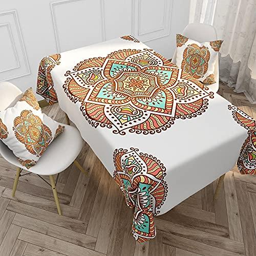 XXDD Mantel de Mandala Bohemio Rectangular Impermeable Mancha Mantel Hule para Cocina Mesa de Comedor Cubierta A6 140x160cm