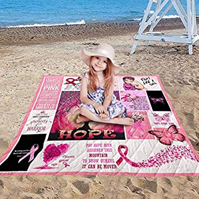 Xisheep Comfort Carpet,Soft Cloth Comfort Carpet Breast Cancer Awareness Household Camping Blanket Gift Home Textiles, for Home DIY in Multicolor