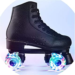 Flashing Double Wheels Roller Skate Shoes Flash Roller Skating Shoes Colorful Glowing Roller Skates Sneakers for Male Female