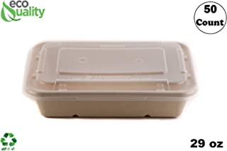 [50 Pack] 29oz Compostable Eco Friendly Container Trays with Lids - Rectangular Oblong Tree Free Sugarcane Bagasse Meal Prep Bento Boxes Take Out Catering Microwavable Deep Container by EcoQuality