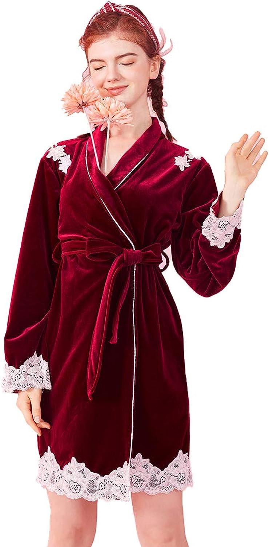 Sexy Lady's Bathrobe, Lace Bathrobe Super Soft Short Ladies Dressing Gown