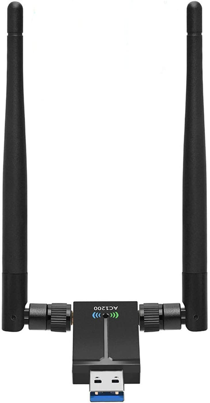USB WiFi Adapter AC1200Mbps Wireless Network Adapter for PC with 2.4GHz/5GHz High Gain Dual Band 5dBi Antenna, Supports Windows 10/8.1/8/7/XP, Mac OS 10.6-10.15,Vista,Linux