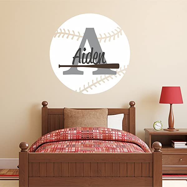 Nursery Wall Decals Baseball Name And Initial Personalized Name Wall Decal 28 By 28 Boys Or Girls Nursery Sports Decals Baseball Wall Decals Sports Wall Stickers Plus Free Hello Door Decal