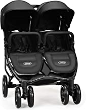 INFANS Double Stroller, Lightweight & Easy Folding Duo Baby Stroller with Side by Side Twin Seats, Night Reflective 5-Point Safety Harness, Suitable for 6 Months to 3 Years (Black)