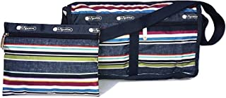 LeSportsac Indigo Stripe Deluxe Shoulder Satchel Crossbody Bag + Cosmetic Bag, Style 7519/Color E124