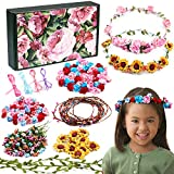 Golray Flower Crowns Making Kit Creativity Art Craft Kit DIY Garden Outdoor Activities Jewelry Making Kit for Kids Age 4 5 6 7 8 12 Art Craft Gift for Girls Create 12 Hair Accessories
