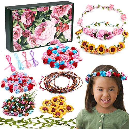 Golray Flower Crowns Making Kit Creativity Art Craft Kit DIY Garden Outdoor Activities Jewelry Making Kit for Kids Age 4 5 6 7 8 12 Art Craft Gift for Girls Create 12 Hair Accessories