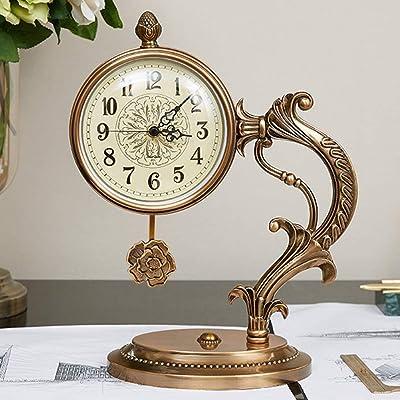 KJH Reloj de Mesa, El Cobre Puro de Madera Relojes De Mesa, 24,5 ...