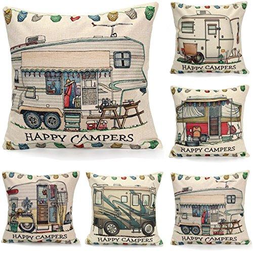 Bazaar 45x45cm Gelukkig Campers Linnen Vierkant Kussensloop Kussensloop Thuis Bed Slaapbank Decor