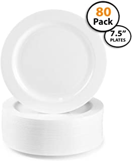 80 Pack | Quality Heavyweight Plastic Plates, Disposable, China Look, Hard Plastic Plate. Wedding and Party Dinnerware,White Pearl, 7.5 inch,