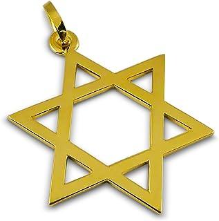 Viennagold - Ciondolo a forma di stella di David in vero oro 585, 14 carati, diametro 22 mm