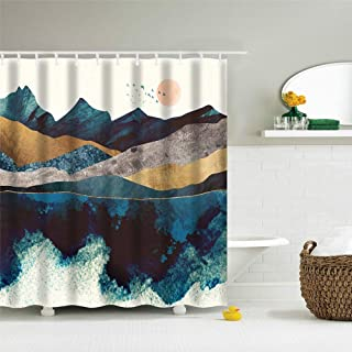 IcosaMro Mountain Shower Curtain for Bathroom with Hooks, Sun Nature Landscape Scenery Decorative Long Cloth Fabric Shower Curtain Bath Decorations, 71Wx72L, Blue