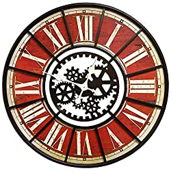 HDC Inc. Large Wall Clock with Decorative Gear Look Red 32 Quartz Movement