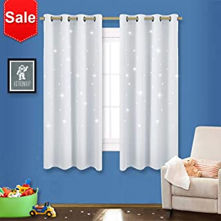 NICETOWN Star Room Darkening Curtains - Magical Hollow Twinkle Star Cut Out Design, Nursery/Kid's Bedroom Essential Window Treatment Curtain Panels (2 Pieces, 52W x 63L, Greyish White)