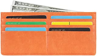 Women's Credit Card Wallet Slim Long Zipper Pocket Purse for Coin, Receipt, Cash Multi-Function Card Wallet for Women (Orange)