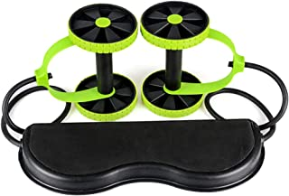 Bloodyrippa Pull Rope Roller Trainer, Multifunctional Abs Wheel Rollers Integrated with Stretch Elastic Straps, Abdominal Training Workout Machine