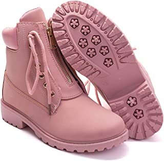 Women's Round Toe Waterproof Ankle Bootie Lace Up Low...