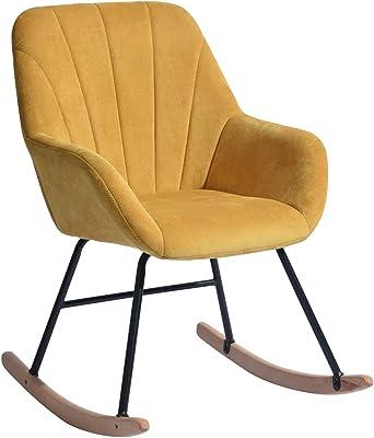 Homybec Fauteuil à Bascule avec accoudoirs en Tissu Accent pour Le Salon, la Chambre à Coucher, Chaise rembourrée pour l'intérieur, Jaune, 45 x 46 x 90 cm