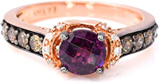 LeVian Rhodolite Garnet Chocolate and White Diamonds Cocktail 1.37 cttw Ring 14k Rose Gold size 7