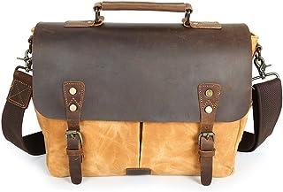 Men's Accessories Brown/Gray/Yellow,Men's Messenger Bag Vintage Waterproof Waxed Canvas Genuine Leather Satchel Shoulder Bag 13 Inch Computer Laptop Bag Tablet Messenger Bag Outdoor Recreation
