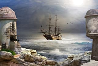 LFEEY 5x3ft Fairy Tale Backdrops for Photography Mysterious Sea Night Pirate Bay Ocean Vintage Old Wooden Pirate Ship Photo Backdrop Videos YouTube Background Photo Studio Props