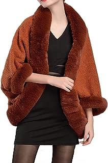 Helan Women's Warm Faux Fur Shawl Lambswool Cape Coat Cloak Coat
