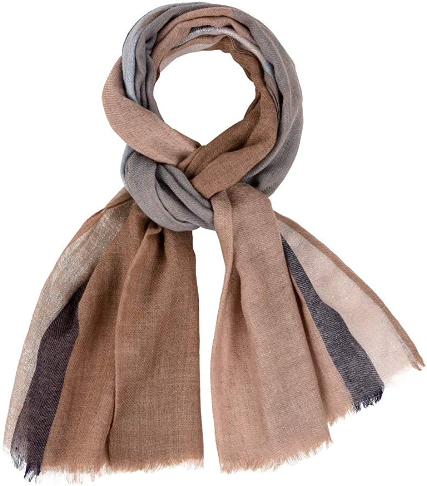 Unisex Scarf 100% Wool Brown and Blue Color with Silber Lurex Edging