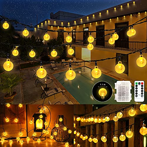 SETIFUNI Battery Operated String Lights,Christmas Lights 50 LED Globe String Lights Set for Christmas Tree Wedding Indoor Outdoor Wreath Party Garden Decoration, 24.6ft Waterproof, Warm White