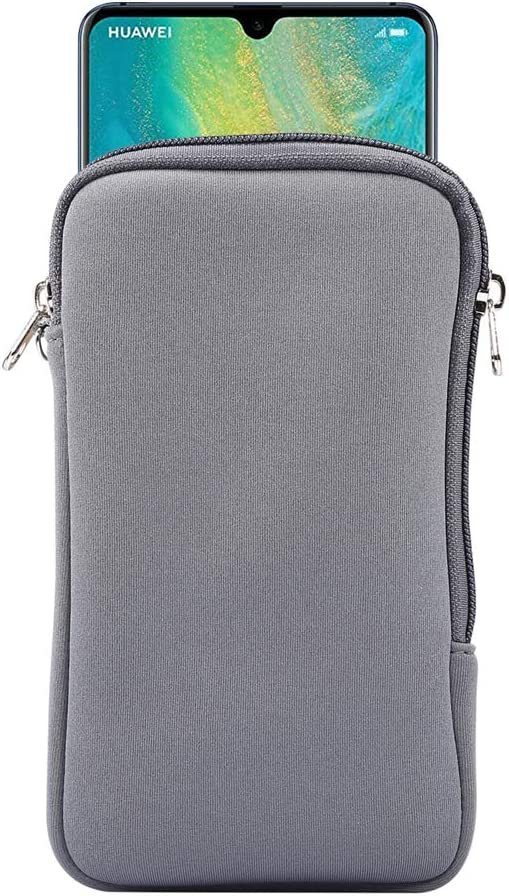 Neoprene Shock Absorbing Proof Pouch Large Cell Phone Sleeve Case Cover w Zipper/Neck Strap for Samsung Galaxy Note 20 Ultra 5G, Note 10+,S20 Plus,A20s / Moto G Power/LG Stylo 5/ Pixel 4 XL (Grey)