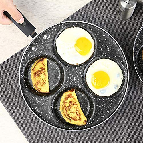 EDCV Grillpan Handvat Ontbijt Eieren Ham Kookpot Voor Eieren Ham PanCake Maker keukenaccessoires 4-gaats Non-stick Omelet Frituurpan, Bakeliet Handvat