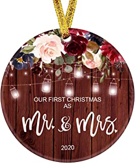"""Best Kooer Our First Christmas as Mr & Mrs Ornament 2020 1st Year Married Newlyweds 3"""" Flat Circle Porcelain Ceramic Wedding Ornament (Mr & Mrs) Review"""