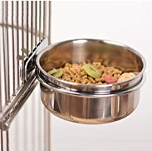 Old Tjikko Pet Feeder Water,10oz 20oz 30oz Bird Hamster Small Animal Cup with Holder,Stainless Steel Cage Coop Hook Cup fo...
