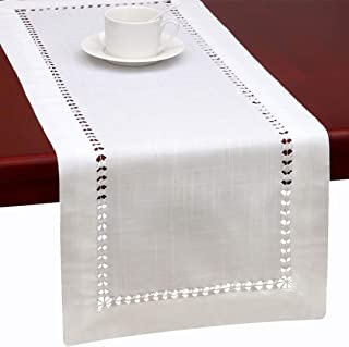Grelucgo Handmade Hemstitched Natural Rectangle White Lace Table Runners (14x60 inch)