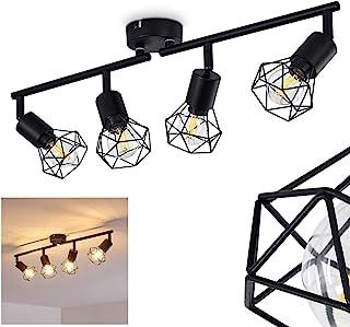 Plafón Baripada de metal negro, 4 focos de techo giratorios de estilo retro industrial, ideal para salón vintage, 4 bombillas E14 máx. 40 W, compatible con bombillas LED