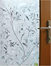 Vakker Bahay 35.5 x 78.7 Inches (90CM by 200CM) Non Adhesive Front Sliding Door Glass Film Home Office Shower Privacy Window Sticker Sun Reflect Static Cling Decorative Stained Window Glass Film