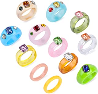 12Pcs Vintage Resin Acrylic Rhinestone Rings,Colorful Finger Ring,Cute Transparent Plastic Ring Trendy Jewelry,Elegant and...