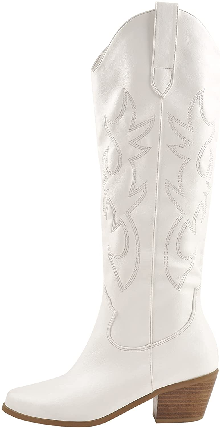 VERISSON Women's Cowgirl Western Boots Cowboy Embroidered Pull-On Knee High Booties