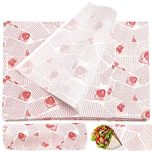 JJQHYC 100 Blätter Wachspapier Butterbrotpapier Antihaft, Lebensmittel Einweg Geschenkpapier zum Burger Sandwich (36 x 26 cm)