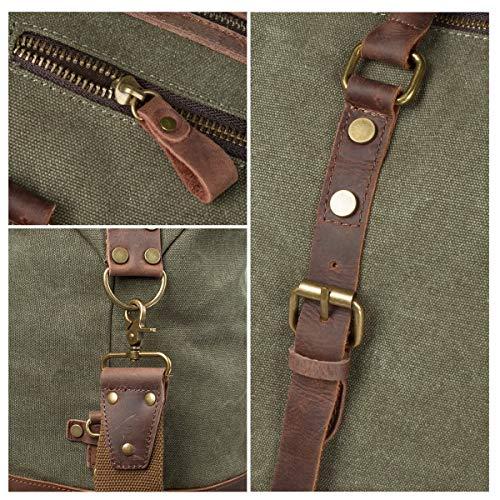 S-ZONE S-ZONE Reisetasche 52-55L Vintage Canvas Crazy Horse Leder Trim Unisex Handgepäck Weekender Tasche Sporttasche für Reise Wochenende Urlaub